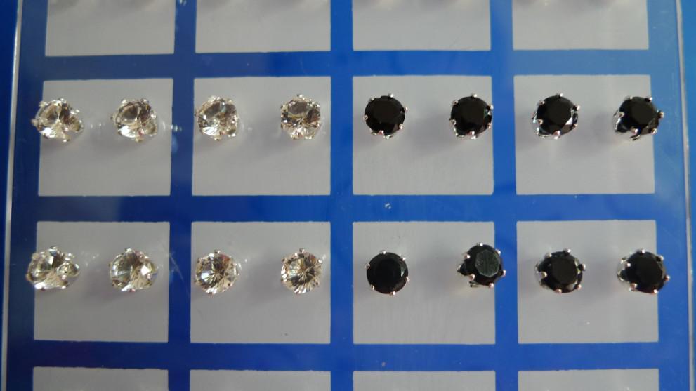 Azione!! ORECCHINI DI CRISTALLO Orecchini a bottone con diamanti imitazione 5mm ROTONDO Nero + trasparente Placcato argento