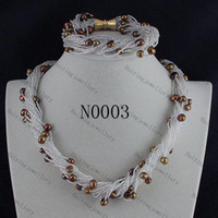 Novo Frete grátis N0003 # AA 8MM 24 Strands Magnet Clasp Brown Fresh Water Pearls Necklace Bracelet