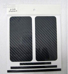 Wholesale Iphone 4s Carbon Fiber Stickers - Carbon Fiber Vinyl Skin Sticker Full Body Mobile cell phone Guard for iPhone 4 4th 4G 4S 5G 5th 5