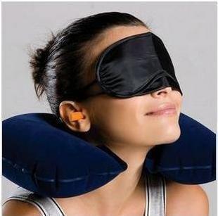 Spedizione gratuita da EMS / 3 in 1 collo cuscino d'aria + Ear Plug + Eye Mask Kit da viaggio Set