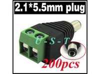 Wholesale Male Dc Power Connector Cctv - 2.1mm x 5.5mm CCTV camera DC Power Male Jack Connector 200pcs   Lot + Free shipping