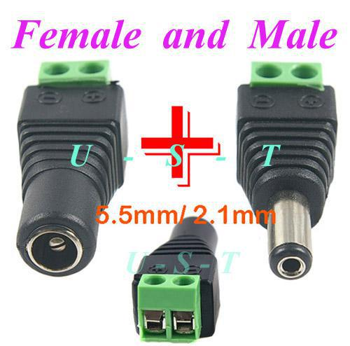 5.5mm x 2.1mm Male CCTV DC Power Plug to Male Plug Adapter Connector
