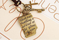 Wholesale Vintage Long Cross Necklace - Vintage Shakespeare's love letter cross key pendant leather cord long necklaces sweater chain 20pcs