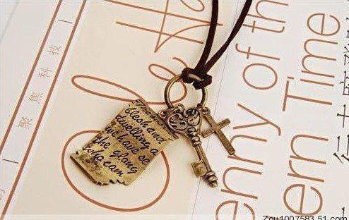 Lettera d'amore di Shakespeare d'epoca croce ciondolo chiave catena in pelle lunga catena maglione collane