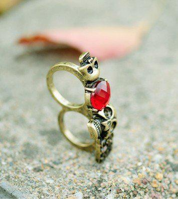 2011 nuevos anillos rojos de la piedra preciosa del vintage florecen el anillo doble / de la flor del cráneo del rubí superventas