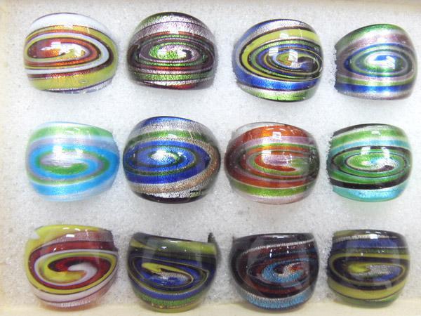 12 stks / partij Mix Kleuren Stijlen Lampwork Glass Band Ringen voor DIY Craft Sieraden Gift RI2