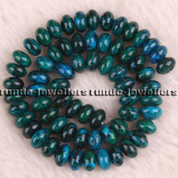 Wholesale Azurite Chrysocolla Beads - 5x8mm 7x11mm Azurite Chrysocolla Gemstones Loose Beads 15""