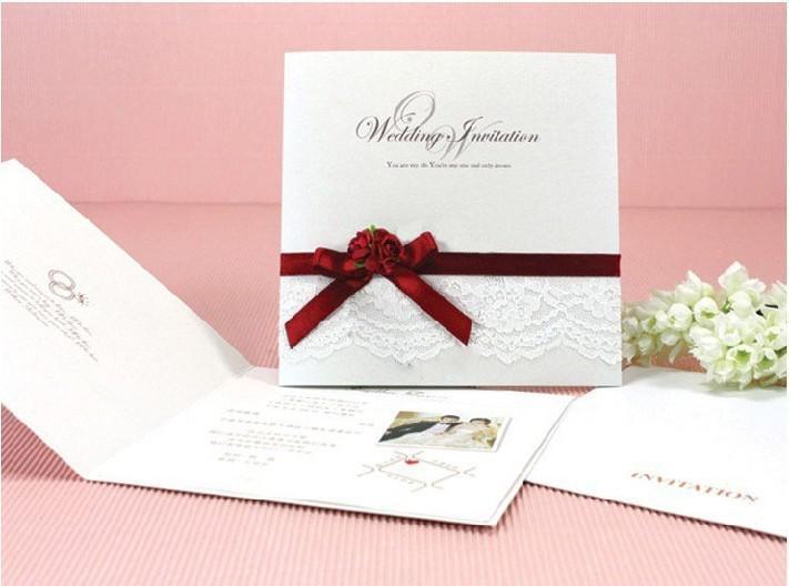 Acheter Cartes De Mariage Cartes Dinvitation 0902 A Ruban Rouge Avec Decoration De Fleurs Rouges De 88 59 Du Chenyong666 Dhgate Com