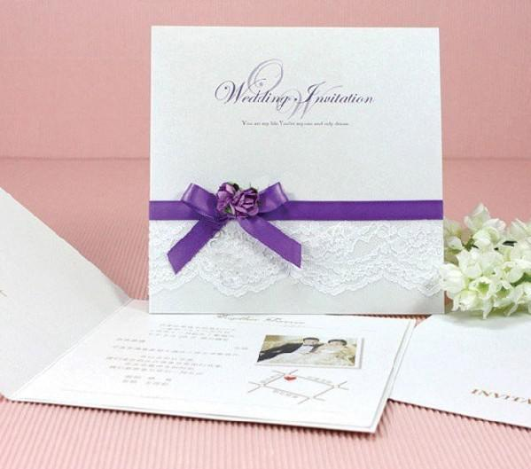 Wedding Cards. Invitation Cards, 0902 P, Purple Ribbon With Red ...