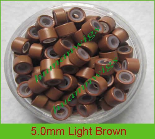 5.0mmシリコーンマイクロリングのヘアエクステンション、ヘアエクステンションツール5色混合、10000ピース/ロット