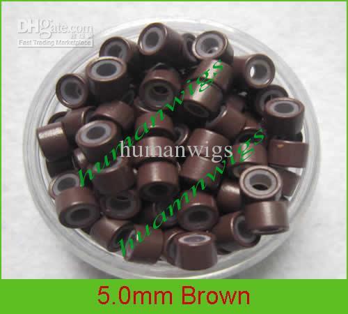5.0mm silicone micro anel links para extensões de cabelo, extensão do cabelo tools.5 cor misturada, 10000 pçs / lote