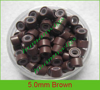 Wholesale Mixed Feathers For Hair - 5.0mm Silicone Micro Ring Links for Feather Hair Extensions.Brown,5000pcs mix color