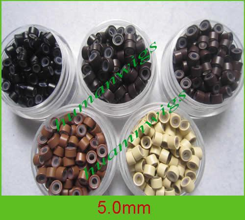 5.0mm Silicone Micro Ring Links voor Feather Hair Extensions.light Brown, Mix Color