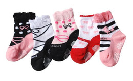 Wholesale Girl S Baby Shoes - NEW Girl Boy Anti-slip Sock Shoes Slipper Baby Ankle socks Baby Boat socks s-YFF813H