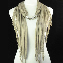 Wholesale Scarf Fashion Beaded Necklaces - Khaki color polyerster jewelry scarf necklace for women 2015 autumn Pashmina new Camel scarfs beaded shawls NL-1316C