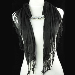 Wholesale Scarf Fashion Beaded Necklaces - Hot selling for america women jewelry 100% polyester beaded black scarf necklace with CCB beads pendants, NL-1316F
