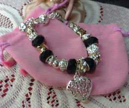 $enCountryForm.capitalKeyWord NZ - Mix styles 925 Silver 5 Black Crystal beads and gold plated beads Chain Bracelets fit A hollow heart