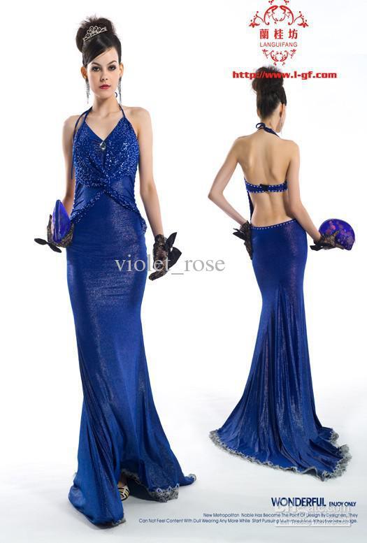Noble Sapphire Blue Dress Evening Dress Star Dress 21516# Modest ...