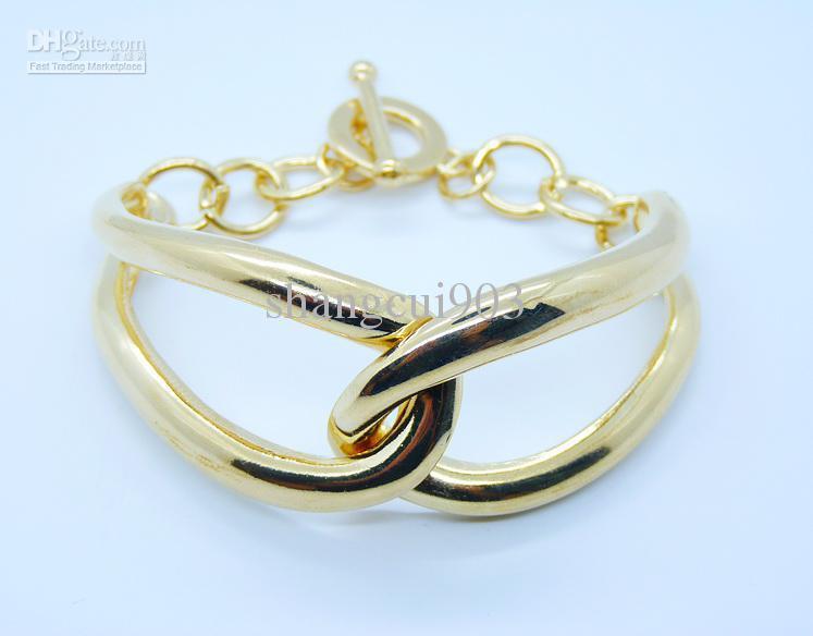 Оптовая продажа 925 серебро искаженные позолоченные персонализированные дамы браслет fit рождественский подарок