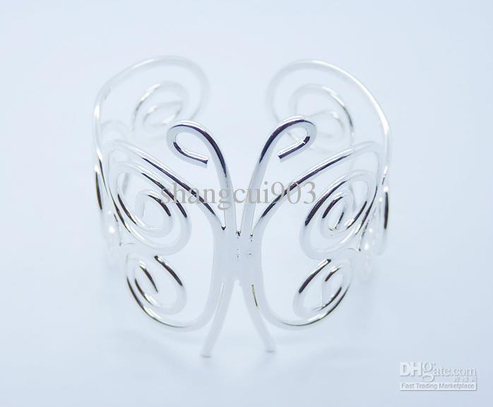 Neue Art 925 Silber Widen Polnische Damen Fashion Open Armreif Manschette fit Weihnachtsgeschenk