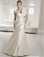 Wholesale Dress Wedding Suzhou - 2012 new arrival satin A-line designer one shoulder wedding dresses suzhou factory custom made
