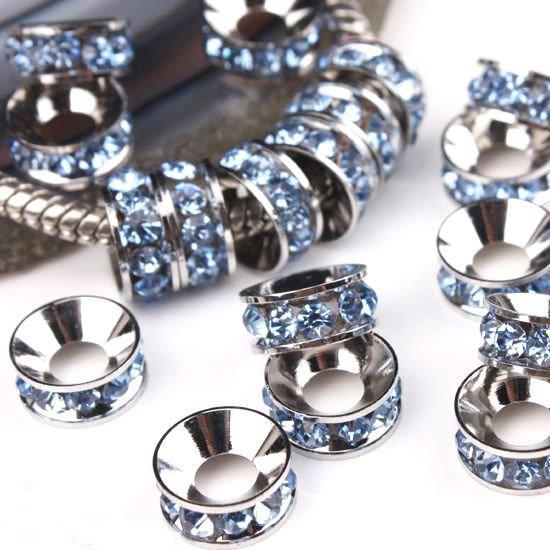 10MM Rhodium Plated, Light Sapphire 4.5mm Big Hole Crystal Rhinestone Rondelle Spacers Gem Findings