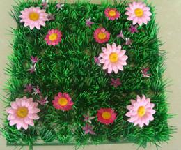 Wholesale Grass Runner - Fairy door supplies Free shipping Artificial plastic grass mat wedding decoration with pink flower table-runner