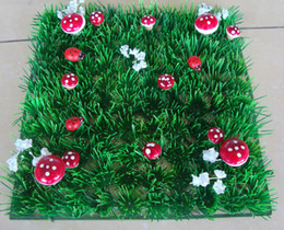 Wholesale Fairy Display - Fairy door supplies Free shipping Artificial plastic grass mat wedding decoration with red mushroon and ladybug