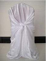 Wholesale Self Tie Satin Chair Cover - 1.1m H*1.4m W White Color Satin Universal Self-Tie Banquet Chair Cover With Free Shipping