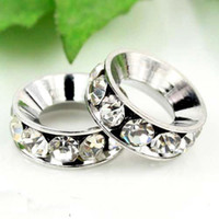 Wholesale Pearl Spacers - 12MM Big Hole Beads, Imitation Rhodium Plated Clear Crystal Rhinestones Spacers Fit Bracelets