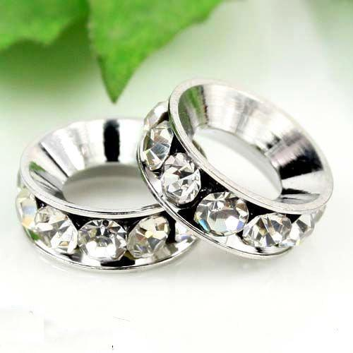 12MM Big Hole Beads, Imitation Rhodium Plated Clear Crystal Rhinestones Spacers Fit Bracelets