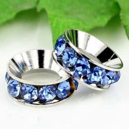 Wholesale Big Hole Pearls - 12MM Big Hole Beads, Imitation Rhodium Plated Light Blue Rhinestones Crystal Spacers Fit Bracelets