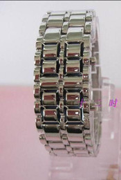 Wholesale Metal Lava Style - Cheap Mens Ladies Lava Watches Style Iron Samurai LED Metal Wrist Watch