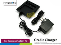 Wholesale Dual Charging Cradle Galaxy - FOR SAMSUNG GALAXY S2 S II I9100 Dual Desktop Cradle Dock Charger Charging 2ND BATTERY 25 pcs