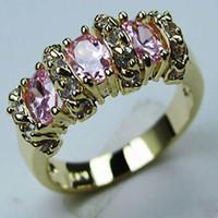 anillo de rubí de oro amarillo al por mayor-Envío gratis nobl ORO AMARILLO LLENO DE LA SEÑORA PINK RUBY RING ghtfg