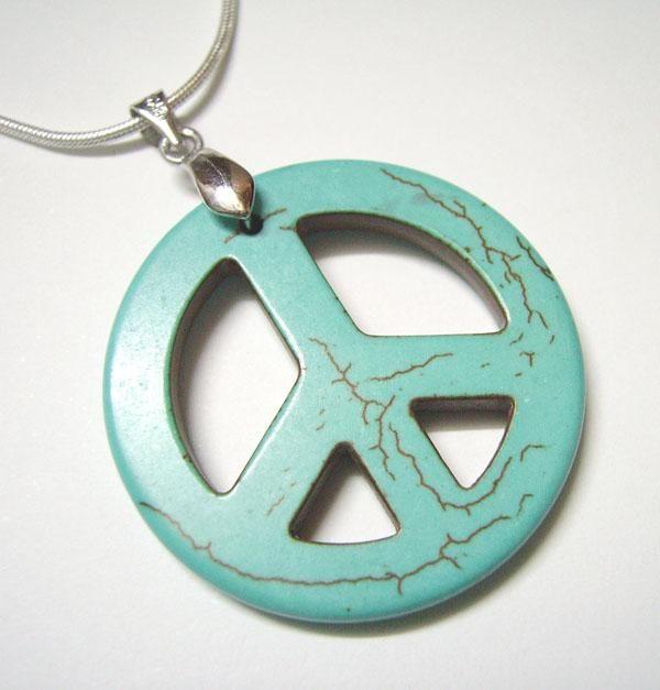 10 stks / partij turquoise vredesteken hangers charms voor diy fashion craft sieraden gift ketting hanger T27
