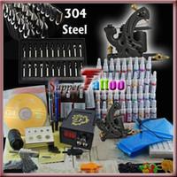 Wholesale Top Starter Tattoo Guns - Tattoo Kit 1 Top Machine Gun Power Needle 40 Ink Beginner   Starter Tattoo Use