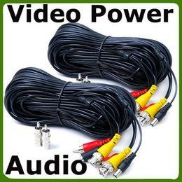 Cables de alimentación de cctv online-2 x 50 pies CCTV Security Camera Audio Video Cables de alimentación con adaptador RCA RNC gratuito e_Shop2008