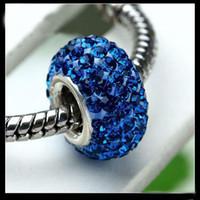 Wholesale Silver Resin Rhinestone Loose Beads - 14MM New Resin Sapphire Rhinestone Beads, Silver Plated Core Crystal Loose Beads, Fit Braceles