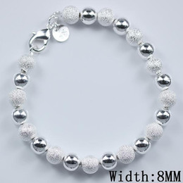 Wholesale Sterling Silver Beaded Bracelets - Christmas gift cheap Free Shipping hot sell 925 Sterling Silver fashion jewelry charm 8mm bead bracelet