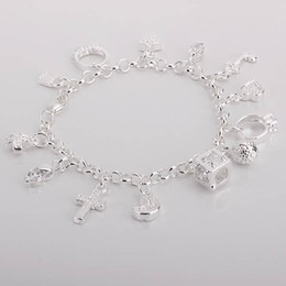 Wholesale Cheap Christmas Gifts Free Shipping - best gift cheap wholesale Free Shipping hot 925 Sterling Silver CZ Crystal gemstone fashion jewelry cross moon charms Wedding bracelet H144