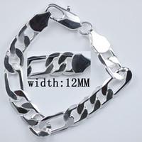 Wholesale 925 Silver Men 12mm - Top grade Free Shipping hot sale 925 Sterling Silver fashion jewelry charm 12mm men chain bracelet