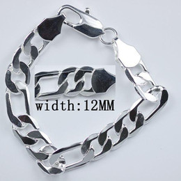 Wholesale Sterling Silver Chains 12mm - Top grade Free Shipping hot sale 925 Sterling Silver fashion jewelry charm 12mm men chain bracelet
