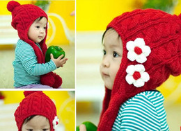 Wholesale Winter Muffler Kids - Baby cap Baby hats children's hats kids Knitting Scarf Hat Children Muffler caps Lovely Flower Hats