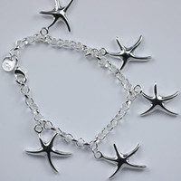 Wholesale Sterling Silver Best Charms - charms women Best gift Free Shipping hot sale 925 Sterling Silver plated fashion jewelry 5 Starfish charms bracelet