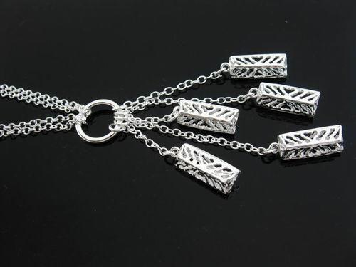 Äkta 925 Silver Links Chain Face 3 Hearts Chain Heart Chic Halsband, kan blandas stilar