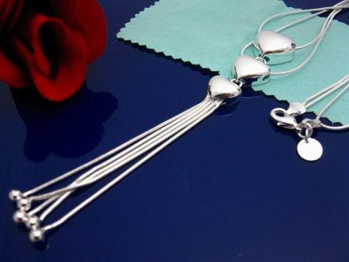 Подлинная 925 серебряные звенья цепи лицо 3 сердца цепи сердце шикарный ожерелье,могут быть смешанные стили