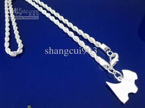 Poco costoso 925 gioielli in argento rotondo 3mm collana catena corda, può essere mescolato stili