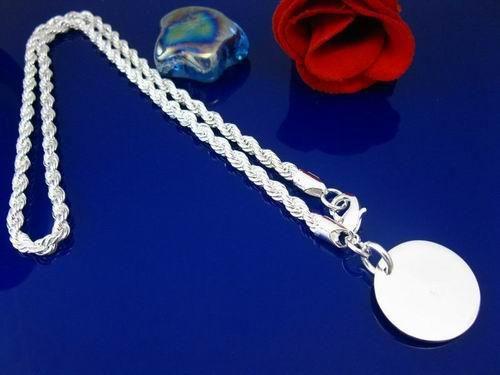 Preiswert 925 Silber Runde Schmuck 3mm Seil Kette Halskette, können Stile gemischt werden