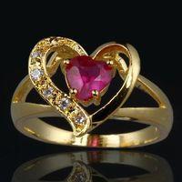 Wholesale Yellow Gold Natural Ruby Ring - Natural Ruby&Crystal 0.62CT 14k Yellow Gold Ring